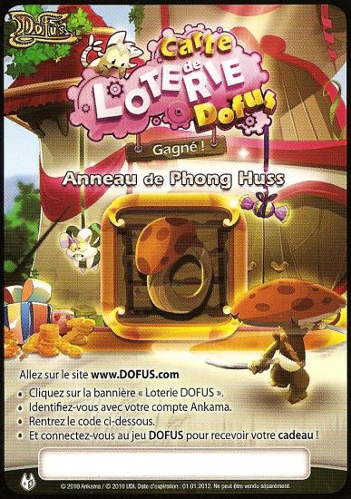 Une carte de loterie pour le jeu Dofus