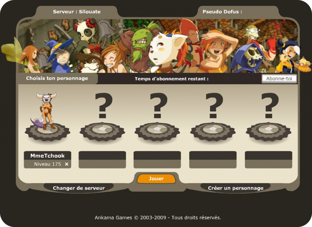 screenshot dofus 2 0 choix du personnage dofus 2 0. Black Bedroom Furniture Sets. Home Design Ideas